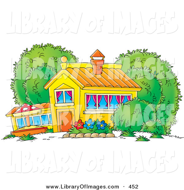 Clip Art of a Colorful School House, Home or Building with Curtains in the Windows and a Flower Garden in the Yard