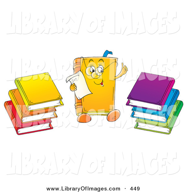 Clip Art of a Colorful Smart Book Character Wearing Glasses and Reading a Memo, Stacks of Colorful Books on the Sides