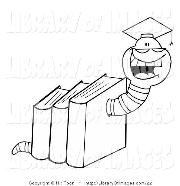 Clip Art of a Coloring Page of a Graduate Worm in Books