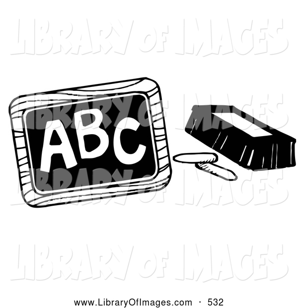 Clip Art of a Coloring Page of Chalk and an Eraser Beside a Chalkboard with ABC Written on It