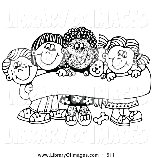Clip Art of a Coloring Page of Four Caucasian and African American Children Smiling and Holding up a Sign with a Puppy
