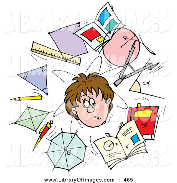 Clip Art of a Confused School Boy Surrounded by Scholarly Shapes, Rulers, Pencils and Books