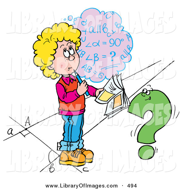 Clip Art of a Confused School Girl Trying to Figure out a Math Problem