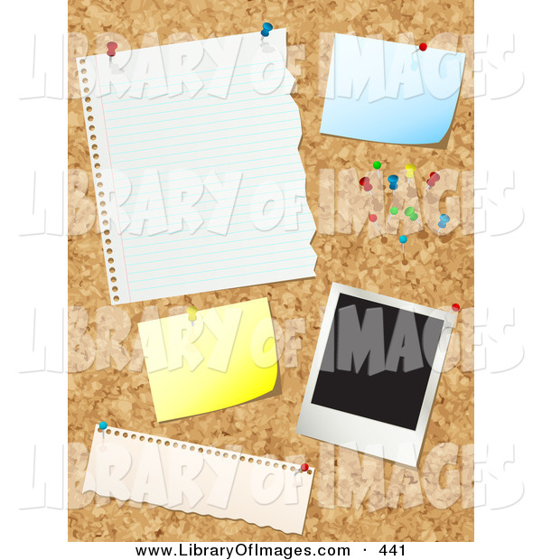 Clip Art of a Cork Board with Push Pins, Blank Messages and a Polaroid Picture on White