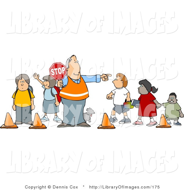 Clip Art of a Crosswalk Crossing Guard Man with a Red Stop Sign, Directing School Children and a Dog to Cross the Street