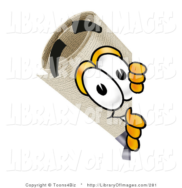 Clip Art of a Curious Diploma Mascot Cartoon Character Peering Around a Corner