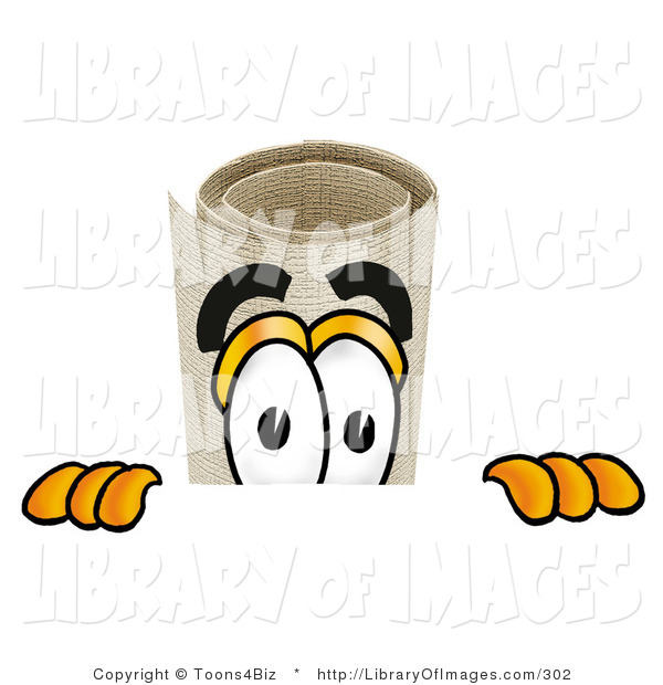 Clip Art of a Curious Diploma Mascot Cartoon Character Peering over a Surface