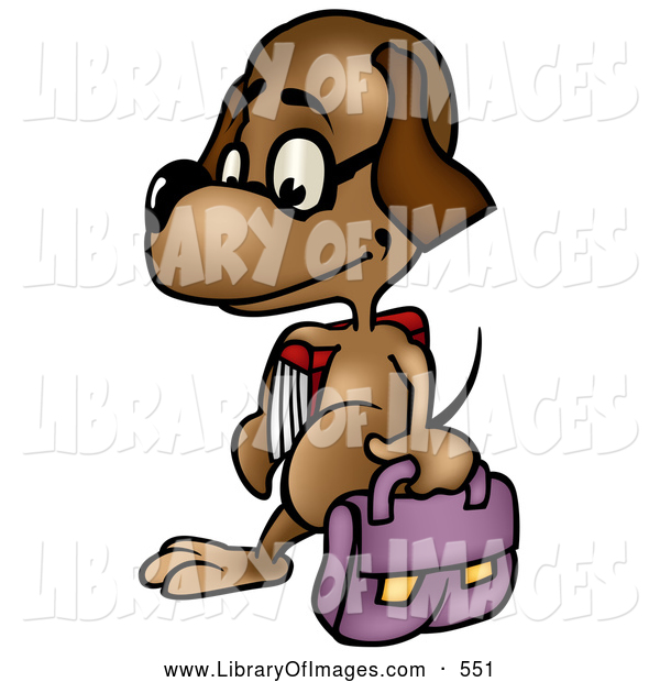 Clip Art of a Cute Dog Student Wearing Glasses and Walking with a Bag and School Book