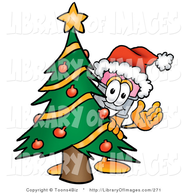 Clip Art of a Cute Festive Pencil Mascot Cartoon Character Waving and Standing by a Decorated Christmas Tree