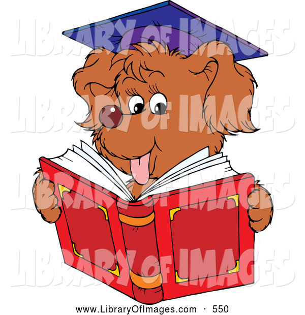 Clip Art of a Cute Graduate Dog Reading