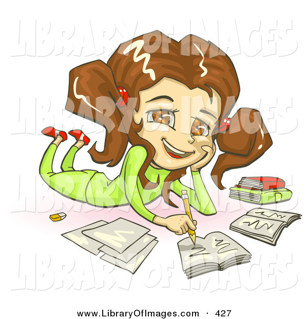 Clip Art of a Cute Smiling Brunette, Brown Eyed School Girl in Green Clothes, Laying on Her Belly and Doing Homework for School