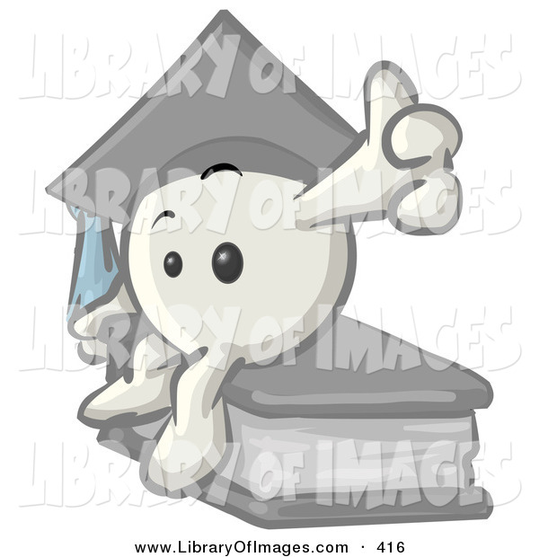 Clip Art of a Cute White Emoticon Character Graduate in a Cap, Sitting on a Book