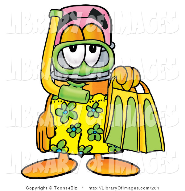 Clip Art of a Cute Yellow Pencil Mascot Cartoon Character in Green and Yellow Snorkel Gear