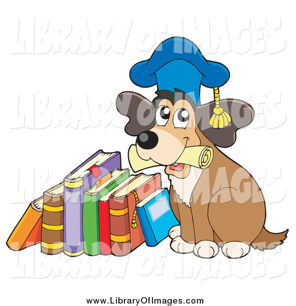 Clip Art of a Dog Professor Holding a Diploma and Sitting by a Stack of Books
