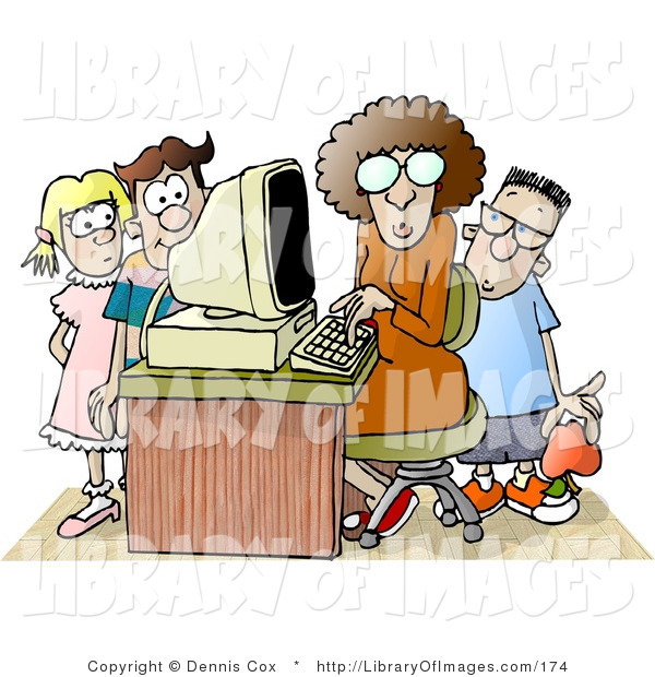 Clip Art of a Female Computer Teacher Sitting at a Computer, Surrounded by School Kids in a Classroom