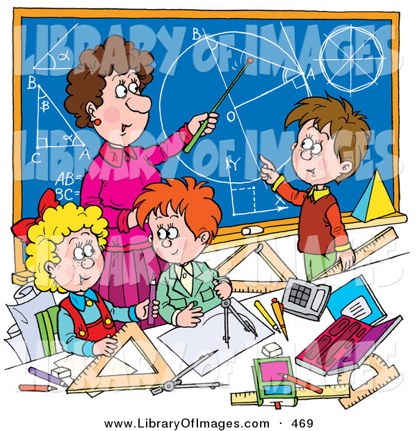 Clip Art of a Female Math Teacher Teaching School Students Geometry and Algebra on a Blue Chalkboard