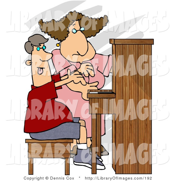 Clip Art of a Female Piano Teacher Teaching a Teenage Boy How to Play a Standard Piano