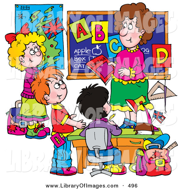 Clip Art of a Female School Teacher Teaching Students the ABC