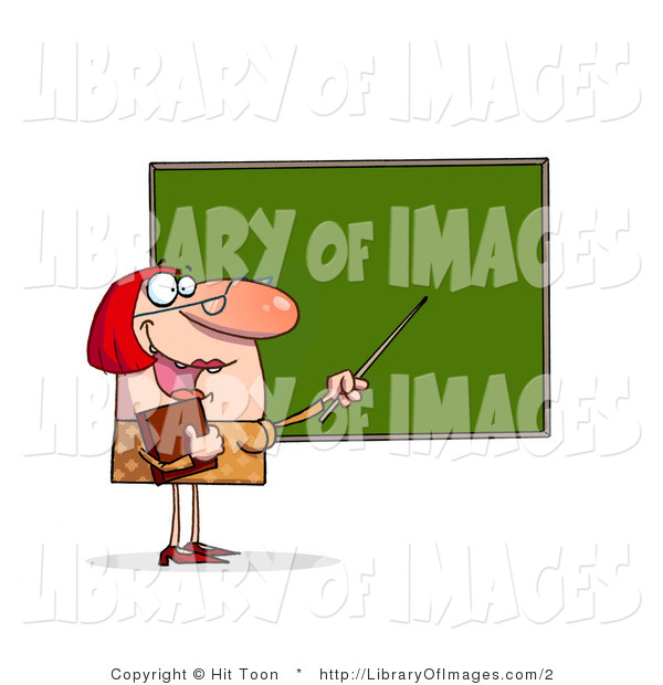 Clip Art of a Female Teacher and Chalkboard