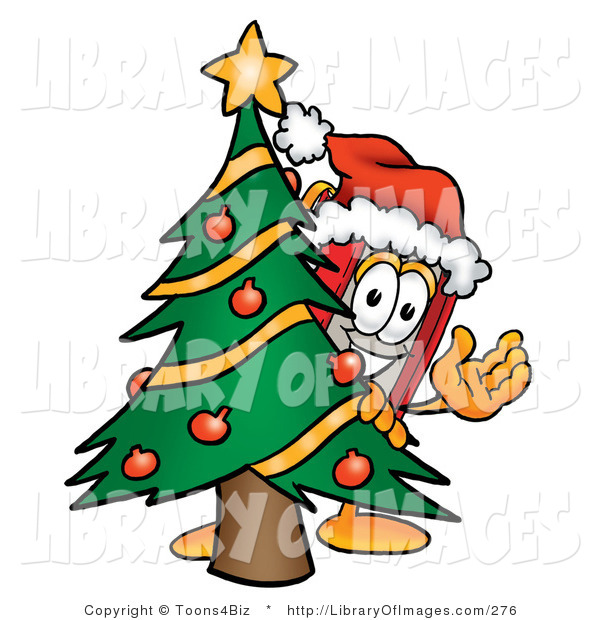 Clip Art of a Festive Winter Red Book Mascot Cartoon Character Waving and Standing by a Decorated Christmas Tree