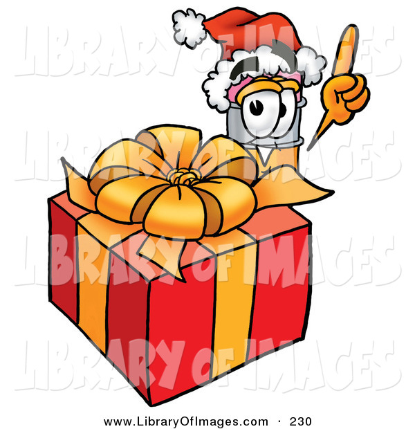Clip Art of a Festive Yellow Pencil Mascot Cartoon Character Standing by a Christmas Present
