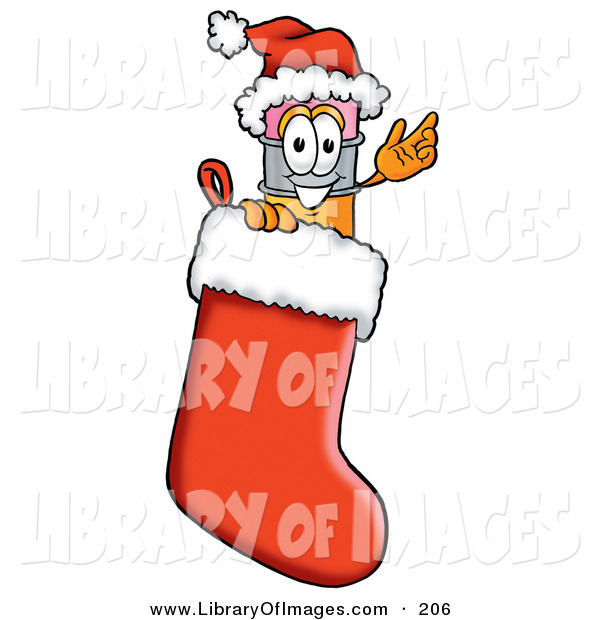 Clip Art of a Festive Yellow Pencil Mascot Cartoon Character Wearing a Santa Hat Inside a Red Christmas Stocking