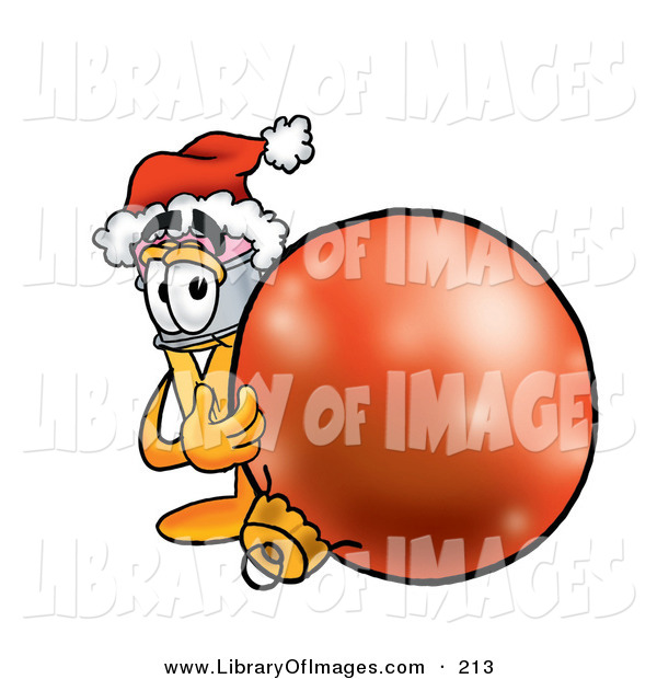 Clip Art of a Festive Yellow Pencil Mascot Cartoon Character Wearing a Santa Hat, Standing with a Christmas Bauble