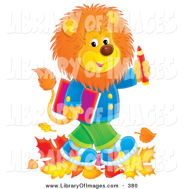 Clip Art of a Fluffy Young Male Lion Wearing Clothes and Walking Through Leaves on His Way to School