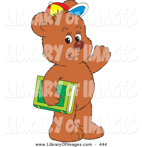 Clip Art of a Friendly Brown Bear Cub Student Wearing a Colorful Hat, Waving and Carrying a Green Library or School Book