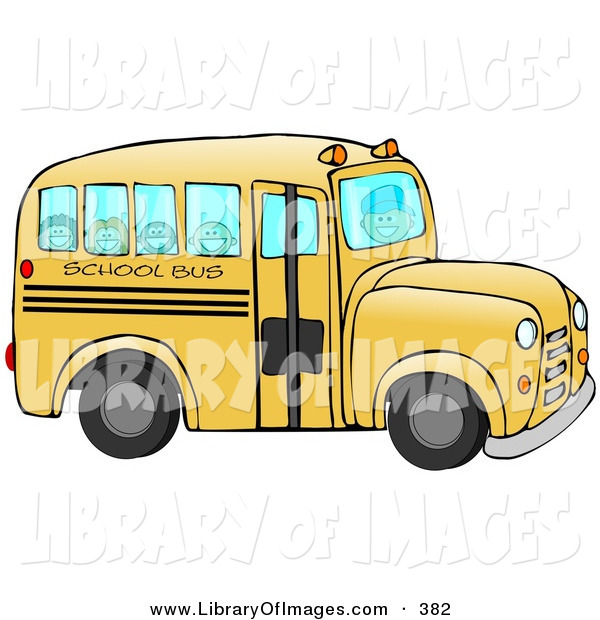 Clip Art of a Friendly Bus Driver Driving Happy School Children to School on a Yellow School Bus on a School Day