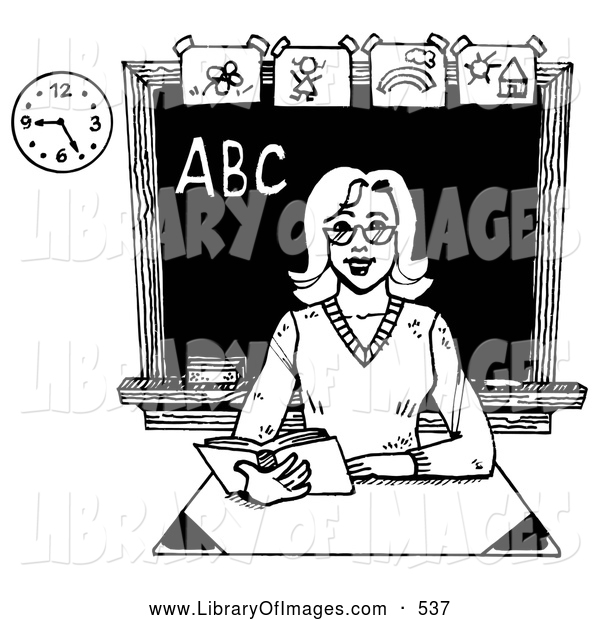 Clip Art of a Friendly Female Teacher Reading a Book at Her Desk in a Class Room, on White