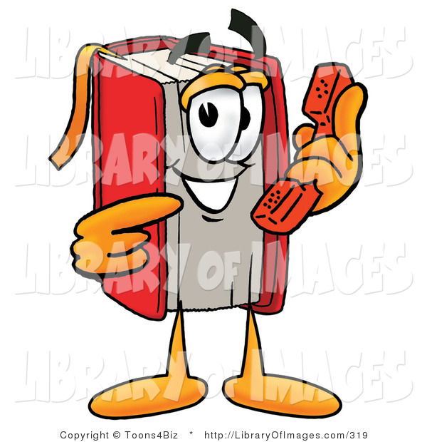 Clip Art of a Friendly Red Book Mascot Cartoon Character Holding a Telephone