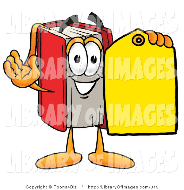 Clip Art of a Friendly Red Book Mascot Cartoon Character Holding a Yellow Sales Price Tag