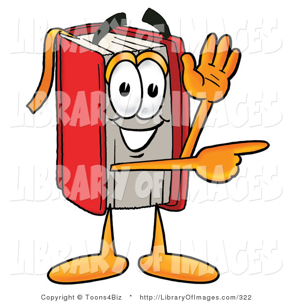 Clip Art of a Friendly Red Book Mascot Cartoon Character Waving and Pointing