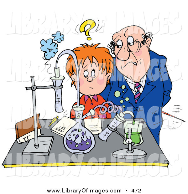 Clip Art of a Frowning and Stern Science Teacher Staring at a Confused School Boy in a Science Lab
