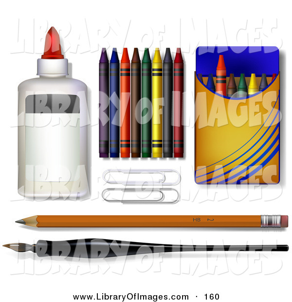 Clip Art of a Glue, Crayons, Paper Clipars, Pencil and Calligraphy Pen - School Supplies