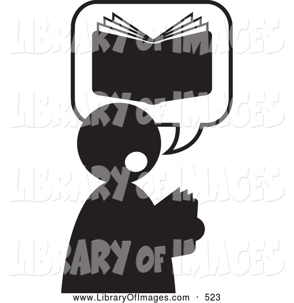 Clip Art of a Good Book Being Read by a Man