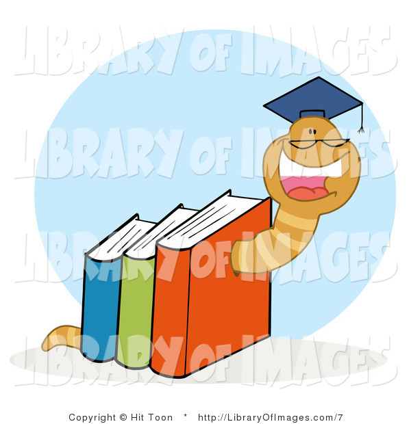 Clip Art of a Graduate Bookworm Crawling Through Colorful Books