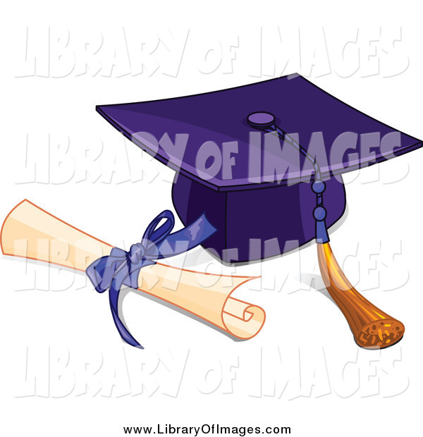 Clip Art of a Graduation Cap Tassel and a Diploma