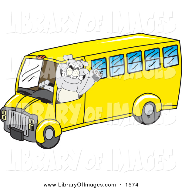 Clip Art of a Gray Bulldog Mascot Waving and Driving a Yellow School Bus