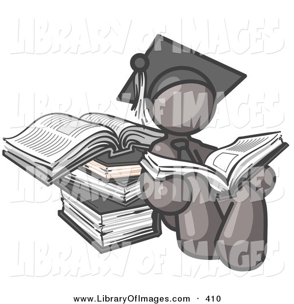 Clip Art of a Gray Male Student in a Graduation Cap, Sitting and Reading a Book and Leaning Against a Stack of Books