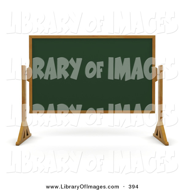Clip Art of a Green Chalk Board with a Wood Frame, Wiped Clean and Standing in a Classroom