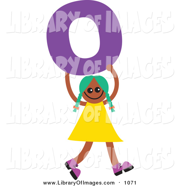 Clip Art of a Green Haired Black Girl Holding a Letter O