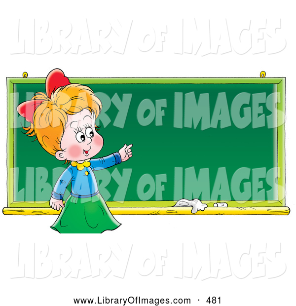 Clip Art of a Grinning Smart School Girl Standing in Front of and Pointing to a Blank Chalk Board