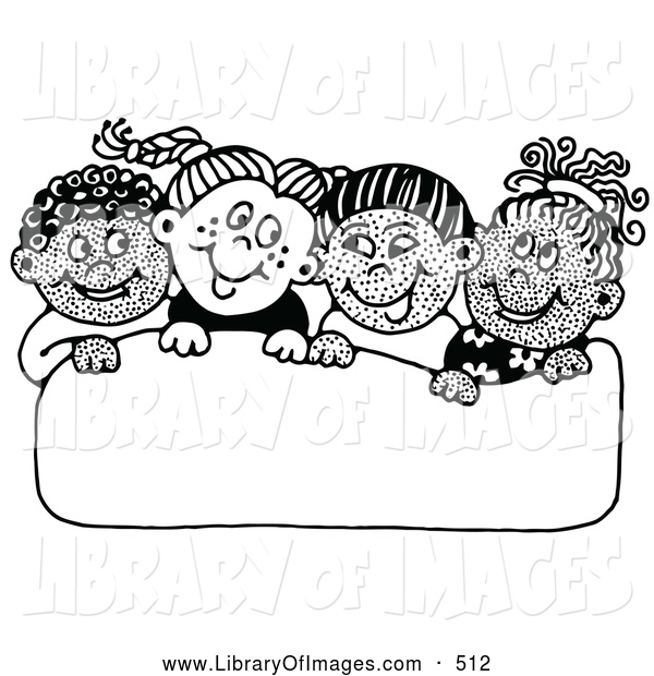 Clip Art of a Group of Diverse School Children Smiling at Each Other While Holding up a Blank Sign on White