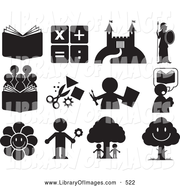 Clip Art of a Group of Educational and Entertainment Icons
