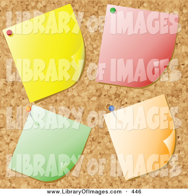 Clip Art of a Group of Four Blank Yellow, Red, Green and Orange Notes Tacked onto a Cork Bulletin Board