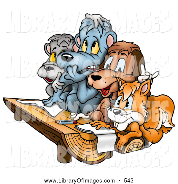 Clip Art of a Group of Friends - a Squirrel, Dog and Bears at a Wood Log Desk in a Class Room at School