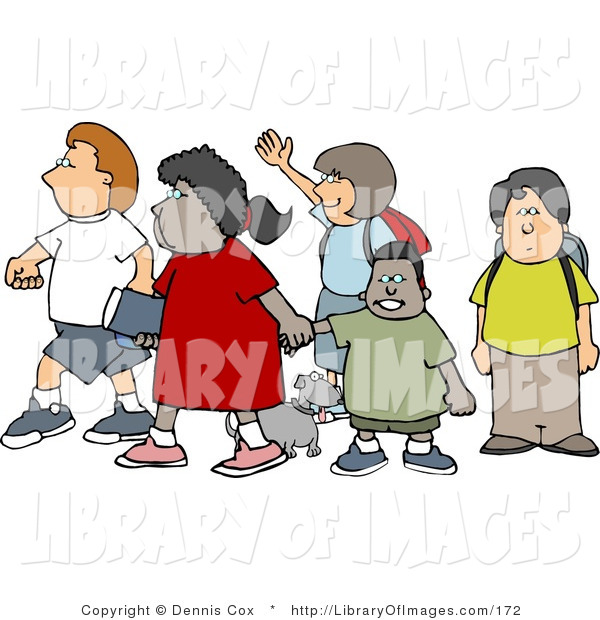 Clip Art of a Group of School Children and a Little Dog Crossing a Street Together