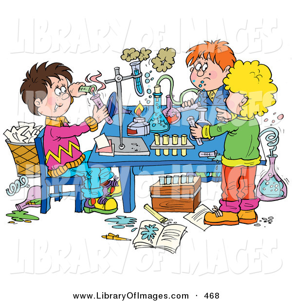 Clip Art of a Group of School Children Conducting Science Experiments on White